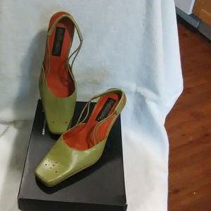 Olive low heels with strap